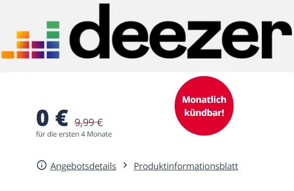 Gratis: 4 Monate Deezer Premium für 0 Euro