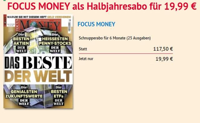 Focus Money: Halbjahresabo für 19,99 Euro frei Haus