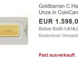 Ebay: Feinunze Gold für 1598 Euro frei Haus