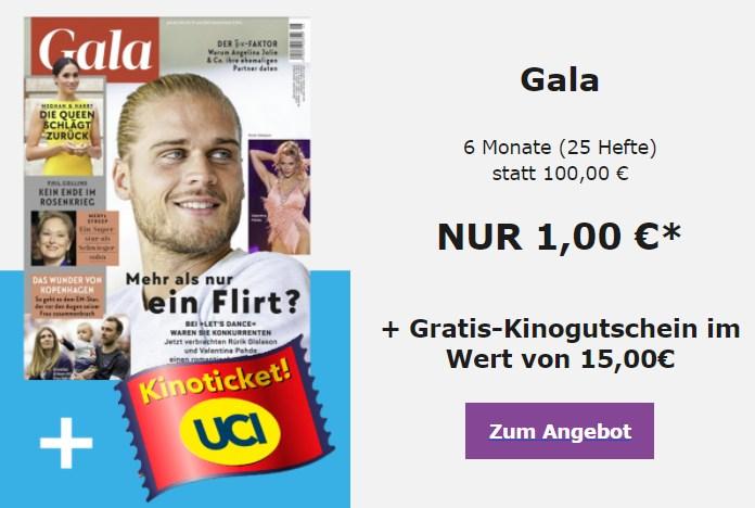 Gratis: Kinogutschein zum Gala-Abo für einen Euro