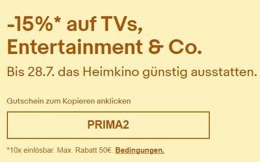 Ebay: 15 Prozent Rabatt auf Heimkino & Co.