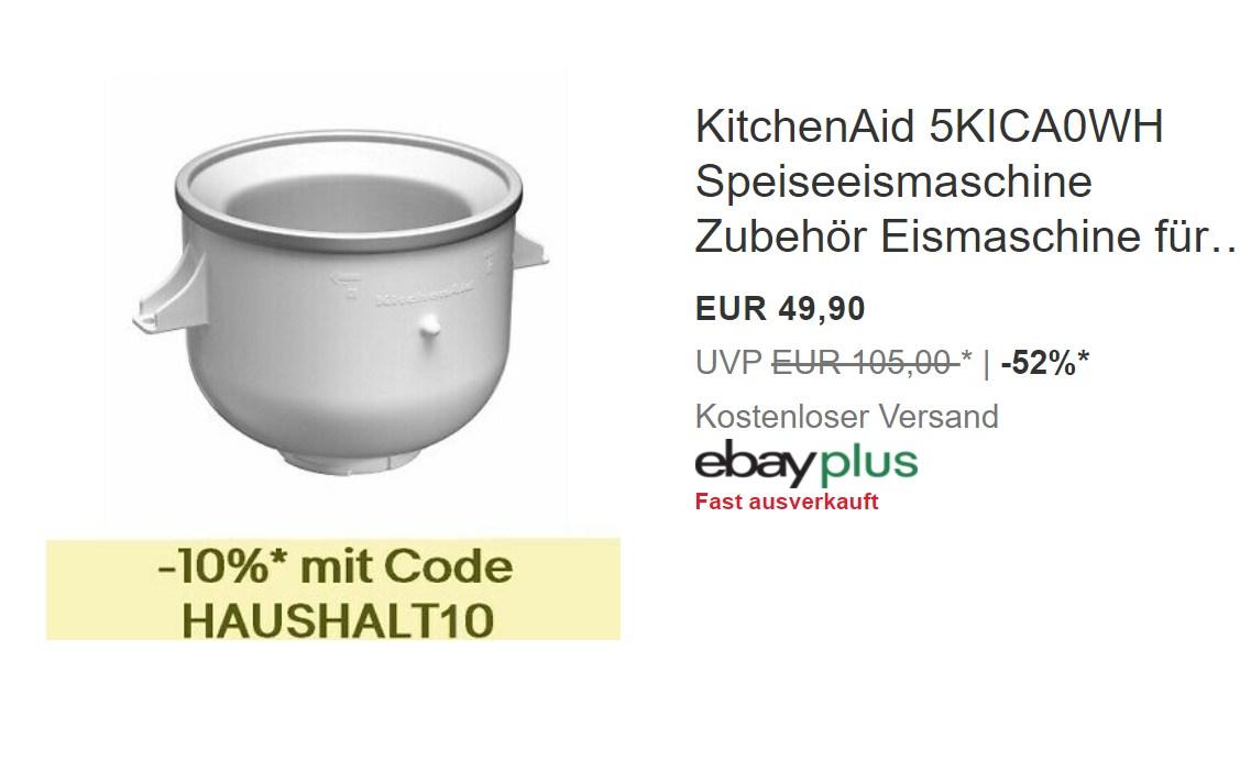 Ebay: KitchenAid Speiseeismaschine als B-Ware für 44,91 Euro