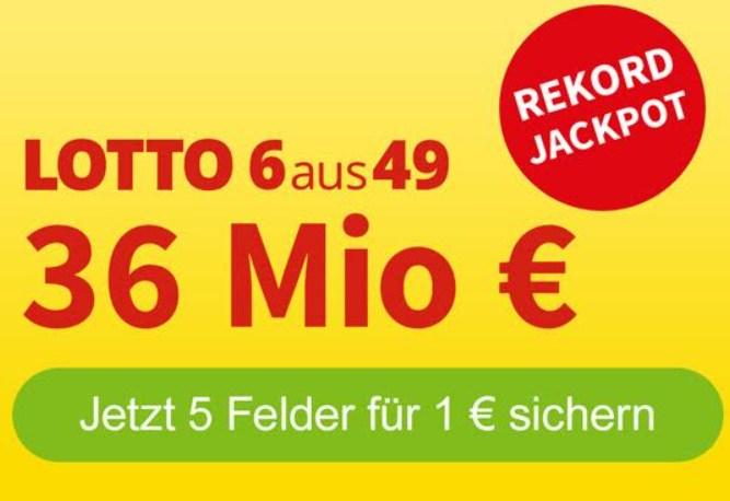 Rekord-Jackpot: 36 Millionen Euro bei Lotto 6aus49