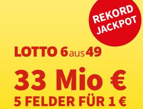 Lotto: Rekord-Jackpot von 33 Millionen am Samstag