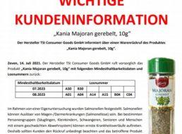 Salmonellen-Alarm: Lidl ruft Majoran zurück