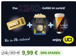 Groupon: Kinogutschein mit Popcorn und Softdrink für 9,99 Euro