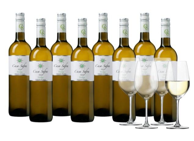 Weinvorteil: 8er-Paket Weißwein & 4 Gläser für 44,99 Euro frei Haus