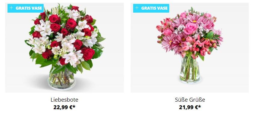 Blumeideal: 15 Sträuße inklusive Vase ab 17,59 Euro