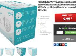 Dealclub: 40er-Pack gut bewertete FFP2-Masken für 9,99 Euro frei Haus