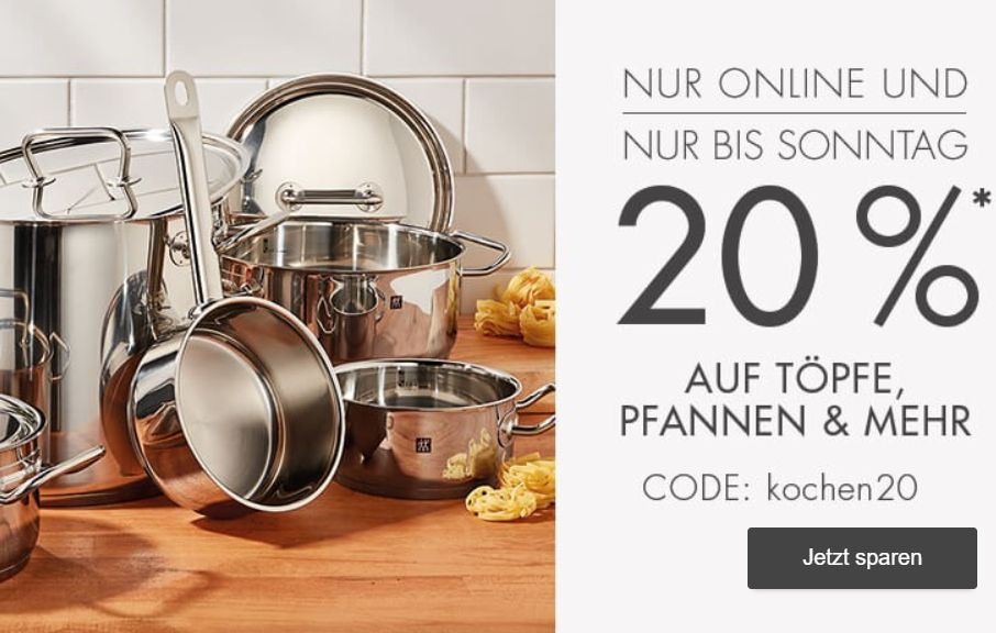 Galeria: Pfannen, Töpfe & Küchenhelfer mit 20 Prozent Rabatt