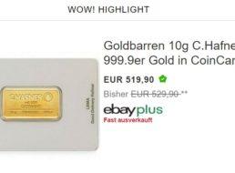 Ebay: 10 Gramm Gold für attraktive 519,90 Euro