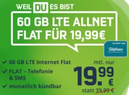 Knaller: Monatlich kündbare LTE-Flat mit 60 GByte für 19,99 Euro