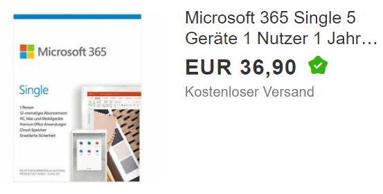 Ebay: Office 365 Single für 36,90 Euro frei Haus ...