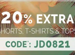Jeans Direct: 20 Prozent Rabatt auf reduzierte Shirts und Shorts