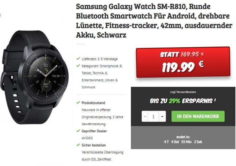 Dealclub: Samsung Galaxy Watch SM-R810 für 119,99 Euro