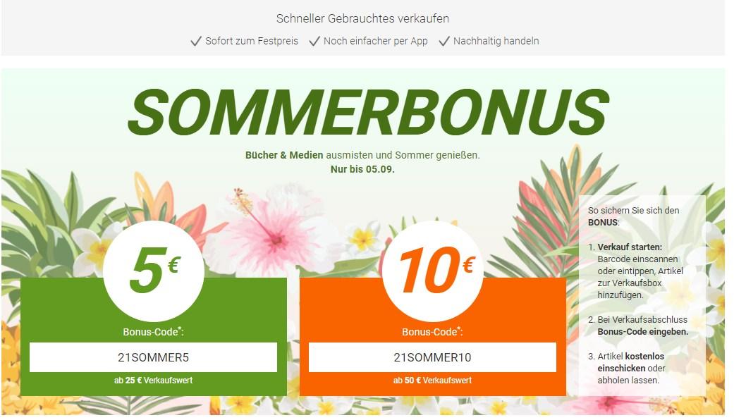 Momox: Bis zu 10 Euro Bonus beim Ankauf von Büchern und Medien