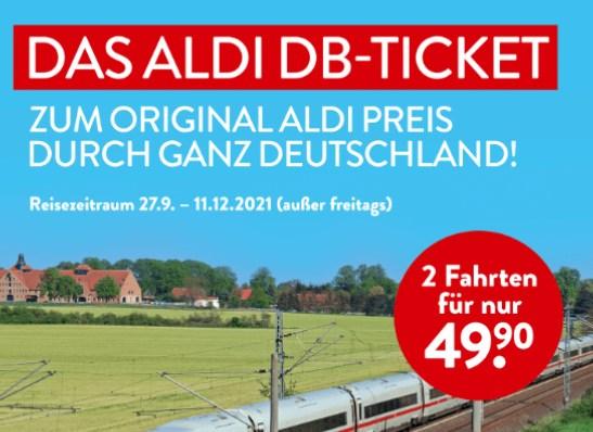 Aldi: DB-Ticket für 49,90 Euro (zwei Bahnfahrten deutschlandweit)