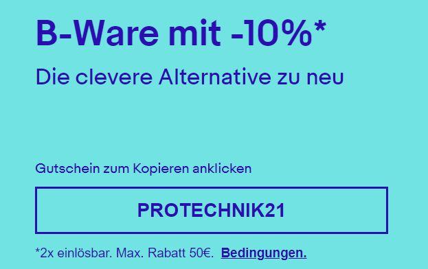 Ebay: 10 Prozent Rabatt auf reduzierte B-Ware-Technik