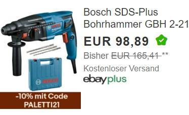 Ebay: Bosch Bohrhammer GBH 2-21 für 89 Euro frei Haus