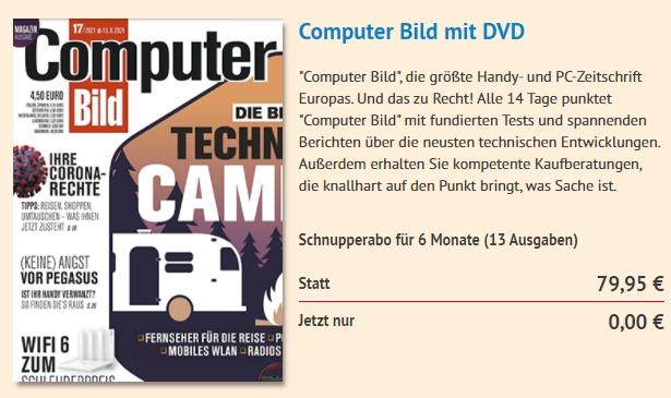 """Knaller: 13 Ausgaben """"Computerbild mit DVD"""" zum Nulltarif frei Haus"""