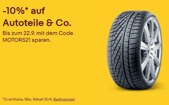 Ebay: Zehn Prozent Rabatt auf Autoteile & Co.
