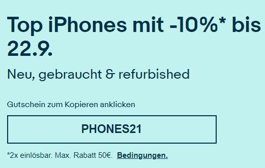 Ebay: 10 Prozent iPhone-Rabatt bis Mittwoch Abend
