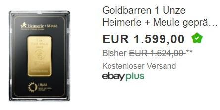 Ebay: Feinunze Gold in Blister für 1589 Euro frei Haus