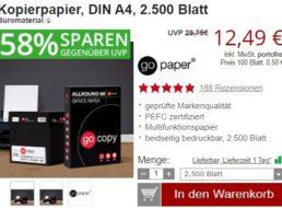 Druckerzubehoer.de: 2500 Blatt Kopierpapier für 12,49 Euro frei Haus