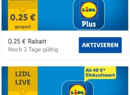 Lidl Plus: 5 Euro Rabatt ab 40 Euro Warenwert