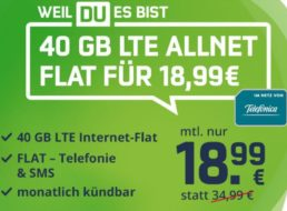 Knaller: Monatlich kündbare LTE-Flat mit 40 GByte für 18,99 Euro