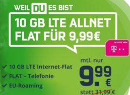 Telekom-Netz: Zehn GByte Datenvolumen mit Telefonflat für 9,99 Euro
