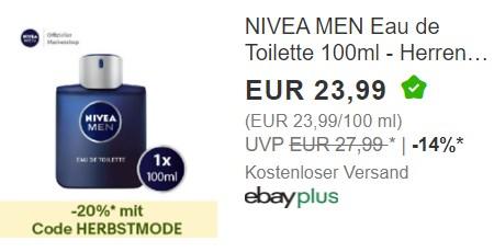 "Ebay: Eau de Toilette von ""Nivea Men"" für 19,19 Euro frei Haus"