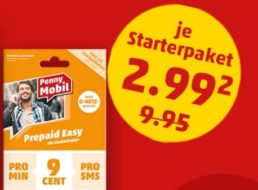 Penny Mobil: Prepaid-Karte mit 10 Euro Guthaben für 2,99 Euro