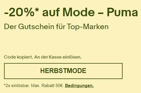Puma: Mode bei Ebay mit 20 Prozent Extra-Rabatt