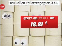 Dealclub: 120 Rollen Klopapier ab 18,81 Euro frei Haus