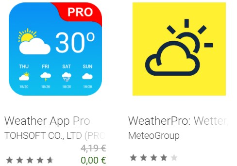 """Gratis: """"Weather App Pro"""" via Google Play für 0 statt 4,19 Euro"""