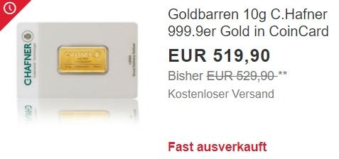 Ebay: 10 Gramm Goldbarren für 519,90 Euro frei Haus