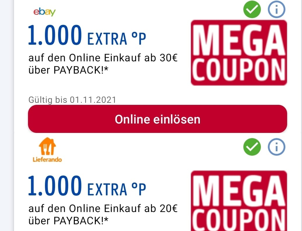 Payback: 1000 Punkte bei Ebay, Lieferando, Tchibo u.a.