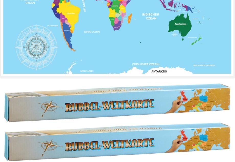 Ebay: Doppelpack Rubbel-Weltkarten für 14,99 Euro