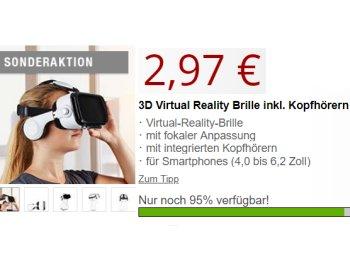 Druckerzubehoer.de: VR-Brille mit Kopfhörern für 2,97 Euro plus Versand