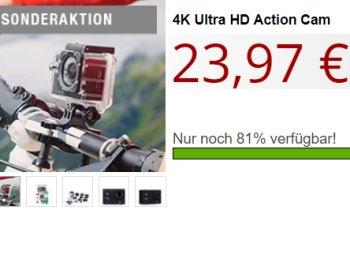 Druckerzubehoer.de: 4K-Actioncam für 27,94 Euro mit Versand
