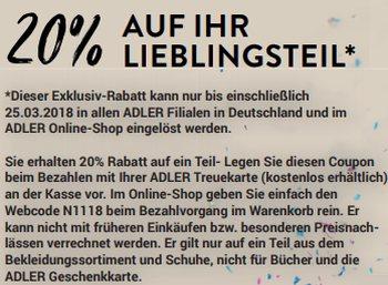 Adler: 20 Prozent Rabatt im Shop vor Ort und Online