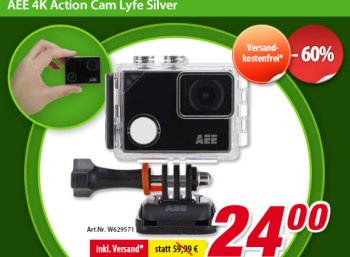 Völkner: 4K-Actioncam AEE Lyfe Silver 1022 für 24 Euro frei Haus