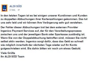 Bestätigt: Doppel-Abbuchungen bei Aldi-Süd - Kunden erhalten Geld zurück