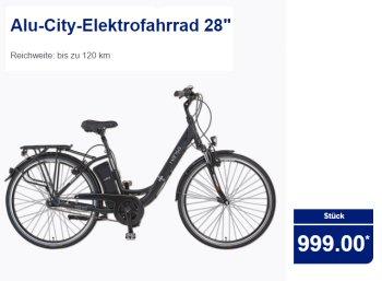 Aldi-Nord: Elektrofahrrad mit bis zu 120 Kilometer Reichweite für 999 Euro