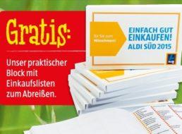 Aldi-Süd: Kostenloser Block mit Einkaufslisten ab 11. April 2015