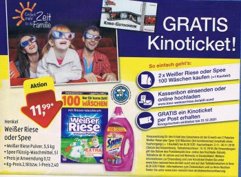 Gratis: Kinoticket zum Kauf von zwei Waschmittelpackungen bei Aldi-Süd