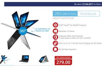 Aldi-Notebook: Medion Akoya E2228T mit Fingerabdrucksensor für 279 Euro