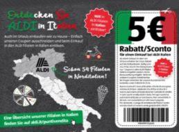 Aldi: Gutschein über 5 Euro für italienische Filialen im aktuellen Wochenprospekt