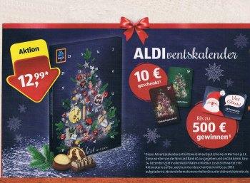 Aldiventskalender 2018: Discounter lockt mit 2 x 5-Euro-Coupon für 12,99 Euro